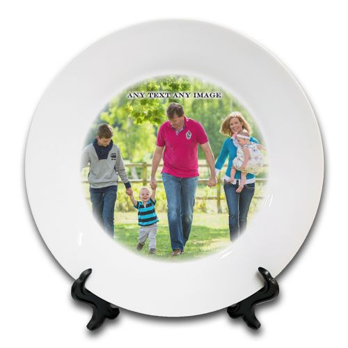 "8"" Personalised Any Text / Any Image Novelty Ceramic Plate & Stand"